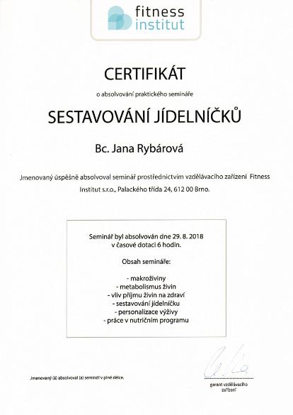 Certifikát na zostavovanie jedálničkov